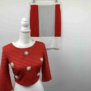 Endless Rose Womens Suit Muticolor Striped 2 Pc S